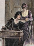 Women with a Harpsichord. Colored Engraving, 1895 Reproduction photographique par  Prisma Archivo