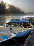Skiffs and Morning Fog in Southwest Harbor, Maine, Usa Photographic Print by Jerry & Marcy Monkman