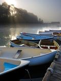 Skiffs and Morning Fog in Southwest Harbor, Maine, Usa Impressão fotográfica por Jerry & Marcy Monkman
