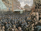Police Officers Dispersing the Strike of Employees of Streetcar in New York, Usa, March 4, 1886 Photographic Print by  Prisma Archivo