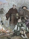 German Reformer, Luther Burning the Papal Bull 'Exsurge Domine' (1520) of Pope Leo X Fotografisk tryk af  Prisma Archivo
