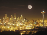 Moonrise over Nighttime Seattle, Washington, Usa Impressão em tela esticada por Janis Miglavs