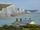 Seven Sisters Chalk Cliffs, Cuckmere Haven, Near Seaford, East Sussex, England Reproduction photographique par David Wall