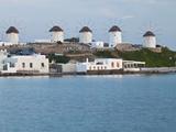 Windmills, Horia, Mykonos, Greece Fotografisk tryk af Darrell Gulin