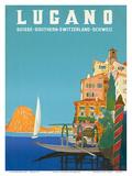 Swiss Italian Resort, Lugano, Switzerland c.1958 Poster von Leopoldo Metlicovitz