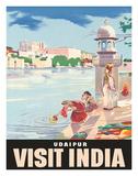 Lake Udaipur: Visit India, c.1957 Impressão giclée