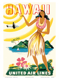 United Air Lines: Hawaii - Only Hours Away, c.1950s Prints