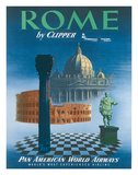 Pan American: Rome by Clipper - Vatican and Coliseum, c.1951 Giclée-vedos