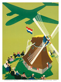 KLM Royal Dutch Airlines: Holland Windmill, c.1945 高品質プリント : ポール・ブリレンズ