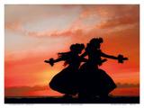 Hula Sisters: Hawaiian Hula Dancers at Sunset Poster af Randy Jay Braun