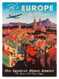 Pan American: Fly to Europe by Clipper, c.1940s Kunstdrucke von M. Von Arenburg