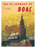 British Overseas Airways Corporation: Fly to Germany by BOAC, c.1950s Poster von Frank Wootton