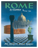 Pan American: Rome by Clipper - Vatican and Coliseum, c.1951 ジクレープリント