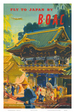British Overseas Airways Corporation: Fly to Japan by BOAC, c.1950s Pôsters por Frank Wootton