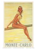 Monte-Carlo, France, c.1945 Posters tekijänä Jean-Gabriel Domergue