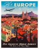 Pan American: Fly to Europe by Clipper, c.1940s Giclée-Druck von M. Von Arenburg