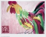 Cock in Pink and Green Schilderij van Walasse Ting