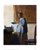 Woman in Blue Reading Giclée-vedos tekijänä Johannes Vermeer