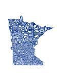 Typographic Minnesota Blue Premium Giclee-trykk av  CAPow