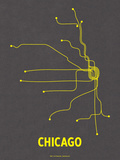 Chicago (Dark Gray & Yellow) Zeefdruk van  LinePosters