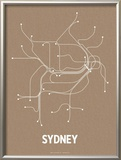 Sydney (Packing Brown & White) Print by  Line Posters