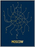 Moscow (Navy & Gold) Posters af  Line Posters
