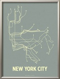 New York City (Steel Blue & Yellow) Print by  Line Posters
