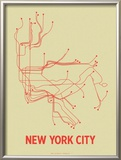 New York City (Cement Green & Orange) Prints by  Line Posters