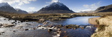 View Across River Etive Towards Snow-Covered Mountains, Rannoch Moor, Near Fort William, Scotland Fotoprint av Lee Frost