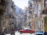 View Along Congested Street in Havana Centro, Cuba Stretched Canvas Print by Lee Frost