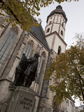 Statue of Bach, Thomaskirche, Leipzig, Saxony, Germany, Europe Photographic Print by Michael Snell