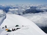 Camping at 4000M, Above Chamonix Valley, Mont Blanc, Chamonix, French Alps, France, Europe Photographic Print by Christian Kober