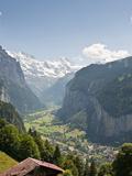 Jungfrau Massif Above Lauterbrunnen, Jungfrau Region, Switzerland, Europe Stretched Canvas Print by Michael DeFreitas