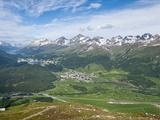 View of Celerina and St. Moritz From Top of Muottas Muragl, Switzerland, Europe Photographic Print by Michael DeFreitas