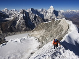 Climber on Summit Ridge of Island Peak, Solu Khumbu Everest Region, Sagarmatha National Park Photographic Print by Christian Kober