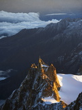 Sunrise on Aiguille Du Midi Cable Car Station, Mont Blanc Range, Chamonix, French Alps, France Photographic Print by Christian Kober