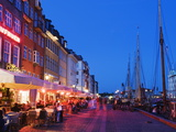 Outdoor Dining and Boats in Nyhavn Harbour, Copenhagen, Denmark, Scandinavia, Europe Photographic Print by Christian Kober