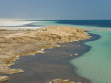 Lake Assal Crater Lake in the Central Djibouti With Its Salt Pans, Afar Depression, Djibouti Fotografisk tryk