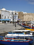 Fishing Boats, Old Port Canal With Kasbah Wall in Background, Bizerte, Tunisia Fotografisk tryk af Dallas & John Heaton