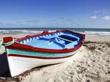 Small Boat on Tourist Beach the Mediterranean Sea, Djerba Island, Tunisia, North Africa, Africa Photographic Print by Dallas & John Heaton
