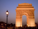 India Gate Illuminated in Evening, New Delhi, India, Asia Photographic Print