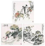 China Set 3Blatt: große Blumen, Früchte und Tiere Poster van Songtao Gao