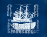 Old Ship Diagram (blue) Serigrafia tekijänä Kyle & Courtney Harmon