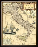 Italy Map Framed Giclee Print by  Vision Studio