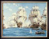La batalla de Trafalgar Lámina giclée enmarcada por Montague Dawson