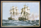 The Action Between the Java and Constitution Gerahmter Giclée-Druck von Montague Dawson