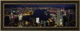 Buildings Illuminated at Night, Hong Kong Framed Photographic Print