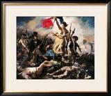 Liberdade guiando o povo, 28 de julho de 1830 Impressão giclée emoldurada por Eugene Delacroix