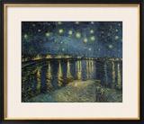 Noite Estrelada Sobre o Ródano, c.1888 Impressão giclée emoldurada por Vincent van Gogh