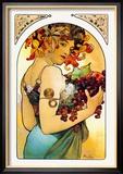 Vrouw met armen vol fruit Affiches van Alphonse Mucha